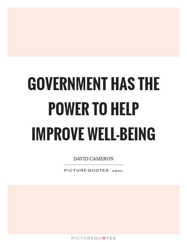Government has the power to help improve well-being Picture Quote #1