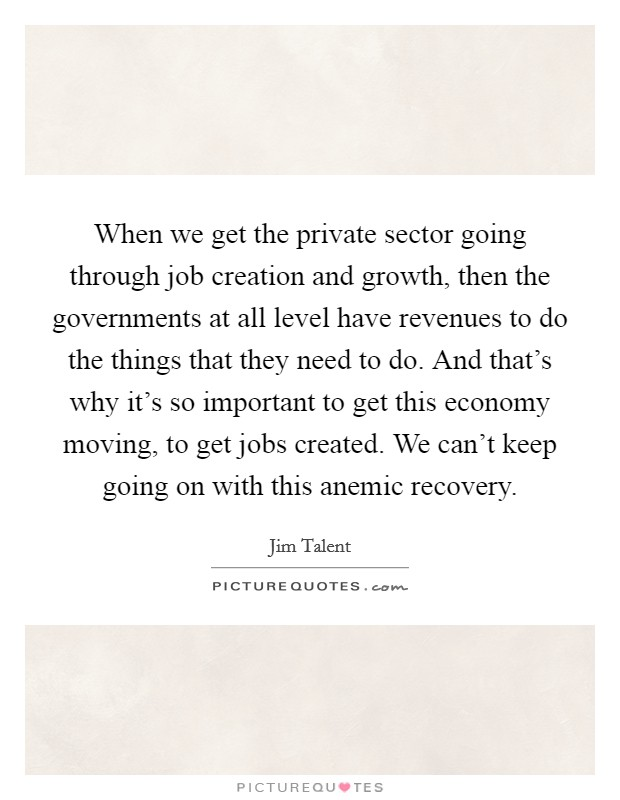 When we get the private sector going through job creation and growth, then the governments at all level have revenues to do the things that they need to do. And that's why it's so important to get this economy moving, to get jobs created. We can't keep going on with this anemic recovery Picture Quote #1