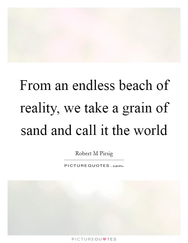 From an endless beach of reality, we take a grain of sand and call it the world Picture Quote #1