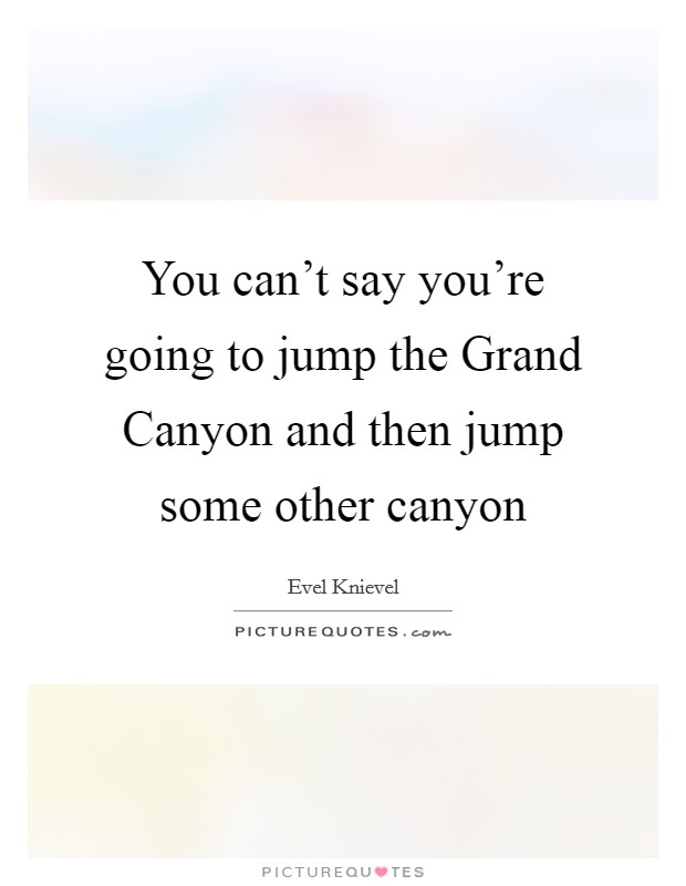 You can't say you're going to jump the Grand Canyon and then jump some other canyon Picture Quote #1