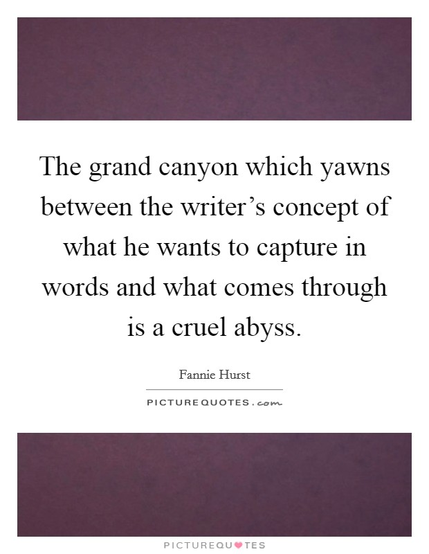 The grand canyon which yawns between the writer's concept of what he wants to capture in words and what comes through is a cruel abyss Picture Quote #1