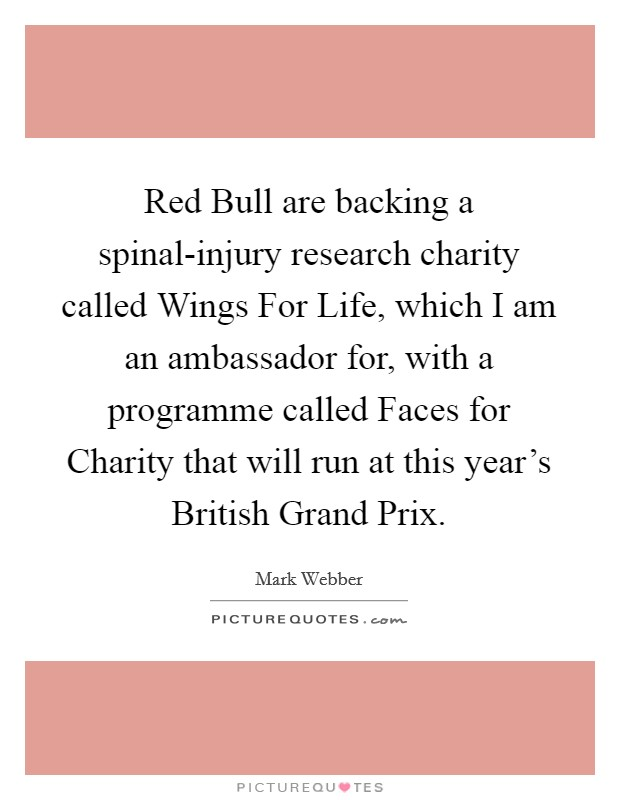 Red Bull are backing a spinal-injury research charity called Wings For Life, which I am an ambassador for, with a programme called Faces for Charity that will run at this year's British Grand Prix Picture Quote #1