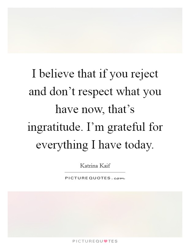 I believe that if you reject and don't respect what you have now, that's ingratitude. I'm grateful for everything I have today Picture Quote #1