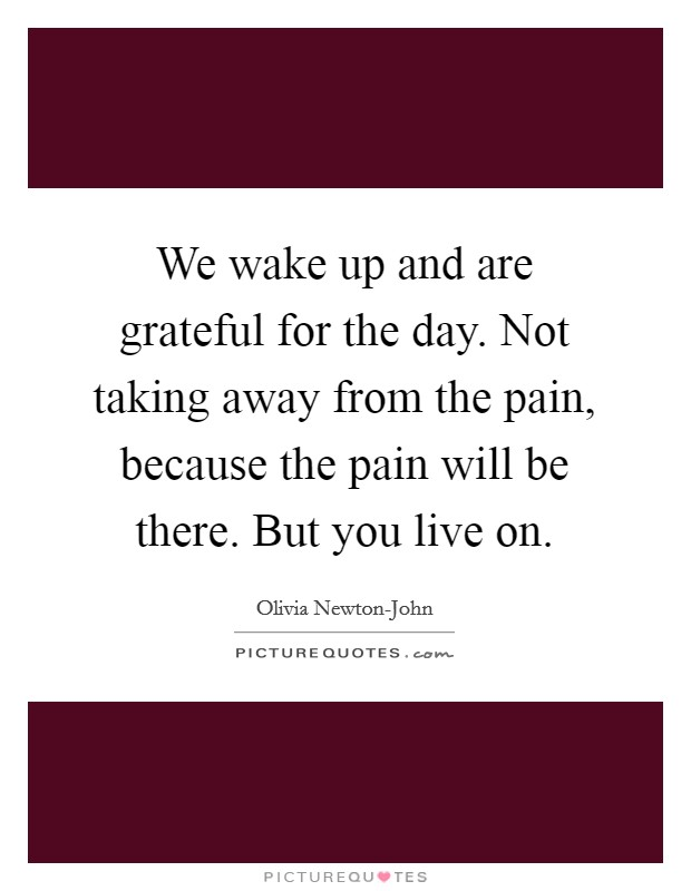 We wake up and are grateful for the day. Not taking away from the pain, because the pain will be there. But you live on Picture Quote #1