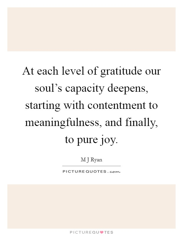 At each level of gratitude our soul's capacity deepens, starting with contentment to meaningfulness, and finally, to pure joy. Picture Quote #1