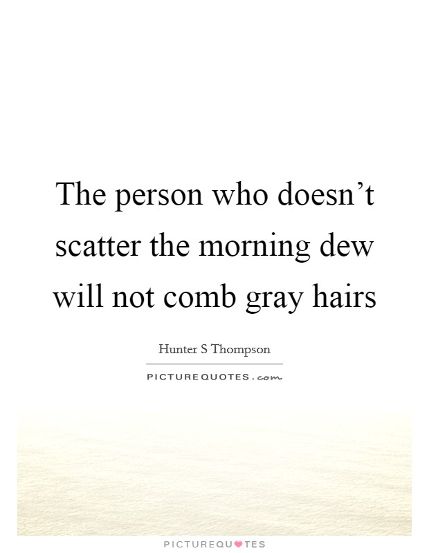 The person who doesn't scatter the morning dew will not comb gray hairs Picture Quote #1