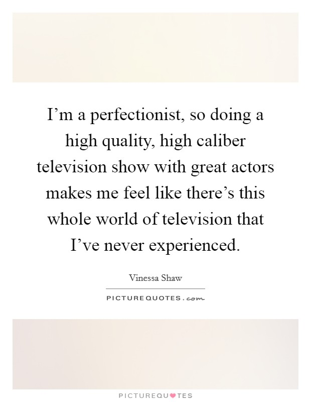 I'm a perfectionist, so doing a high quality, high caliber television show with great actors makes me feel like there's this whole world of television that I've never experienced Picture Quote #1