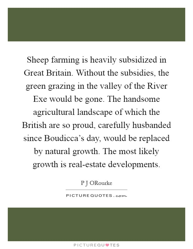 Sheep farming is heavily subsidized in Great Britain. Without the subsidies, the green grazing in the valley of the River Exe would be gone. The handsome agricultural landscape of which the British are so proud, carefully husbanded since Boudicca's day, would be replaced by natural growth. The most likely growth is real-estate developments Picture Quote #1