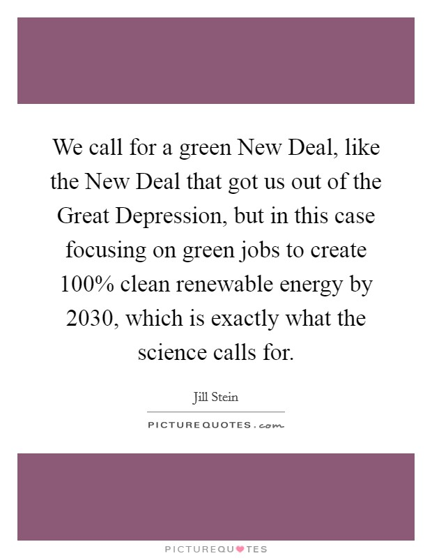 We call for a green New Deal, like the New Deal that got us out of the Great Depression, but in this case focusing on green jobs to create 100% clean renewable energy by 2030, which is exactly what the science calls for Picture Quote #1