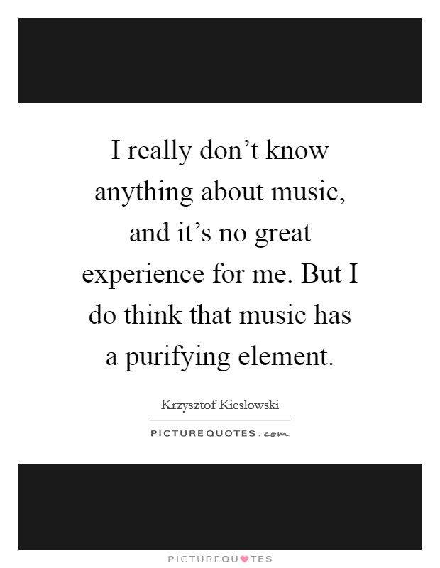 I really don't know anything about music, and it's no great experience for me. But I do think that music has a purifying element Picture Quote #1