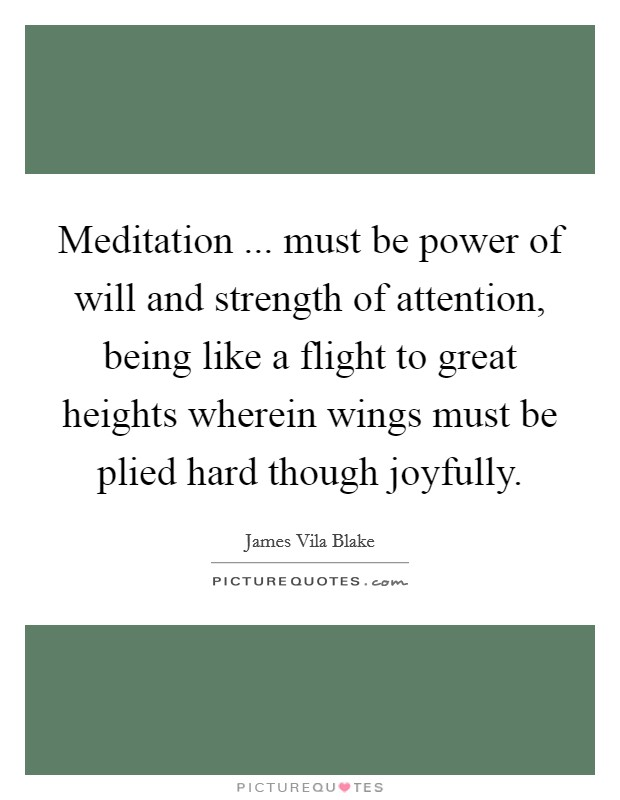 Meditation ... must be power of will and strength of attention, being like a flight to great heights wherein wings must be plied hard though joyfully Picture Quote #1