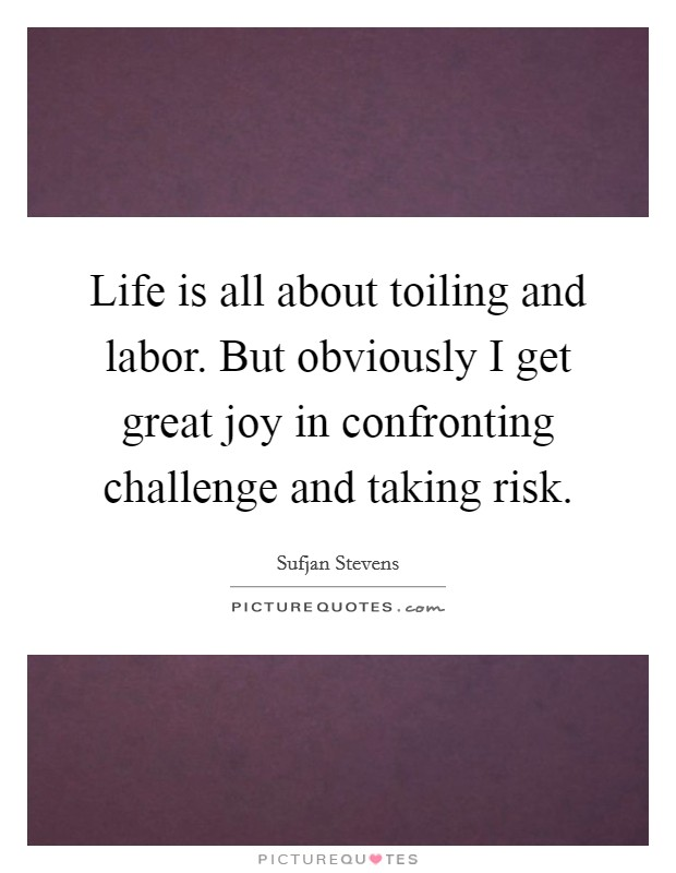Life is all about toiling and labor. But obviously I get great joy in confronting challenge and taking risk Picture Quote #1