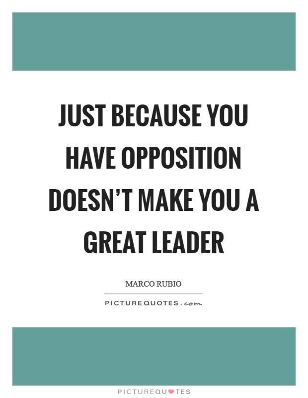 Just because you have opposition doesn't make you a great leader Picture Quote #1