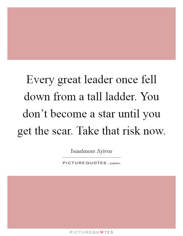 Every great leader once fell down from a tall ladder. You don't become a star until you get the scar. Take that risk now Picture Quote #1