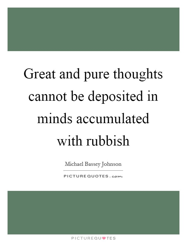 Great and pure thoughts cannot be deposited in minds accumulated with rubbish Picture Quote #1