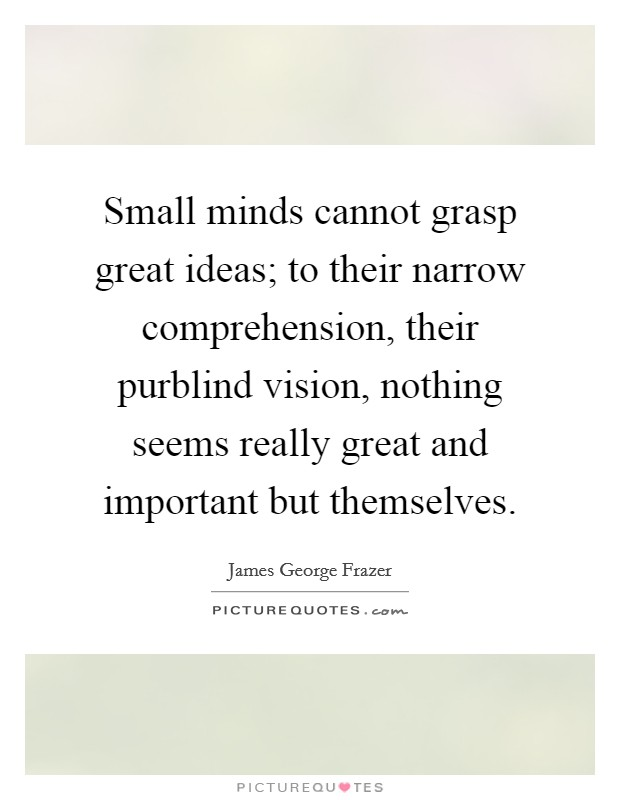 Small minds cannot grasp great ideas; to their narrow comprehension, their purblind vision, nothing seems really great and important but themselves Picture Quote #1