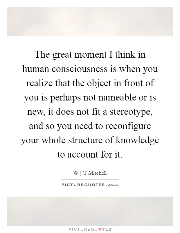 The great moment I think in human consciousness is when you realize that the object in front of you is perhaps not nameable or is new, it does not fit a stereotype, and so you need to reconfigure your whole structure of knowledge to account for it Picture Quote #1