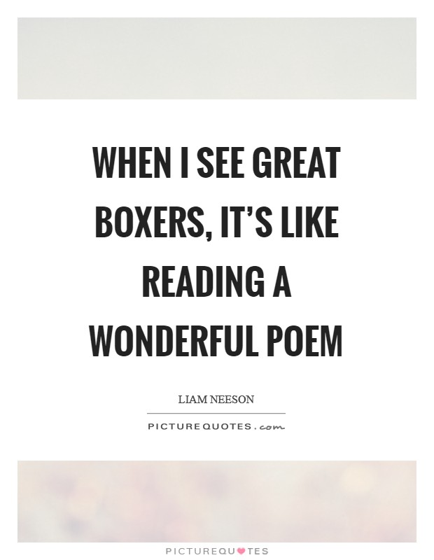 When I see great boxers, it's like reading a wonderful poem Picture Quote #1