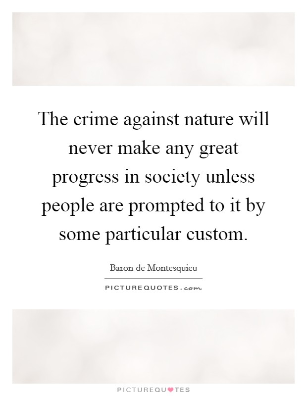 The crime against nature will never make any great progress in society unless people are prompted to it by some particular custom Picture Quote #1