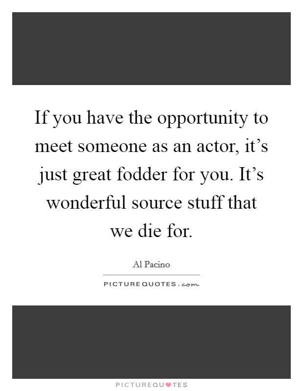If you have the opportunity to meet someone as an actor, it's just great fodder for you. It's wonderful source stuff that we die for Picture Quote #1