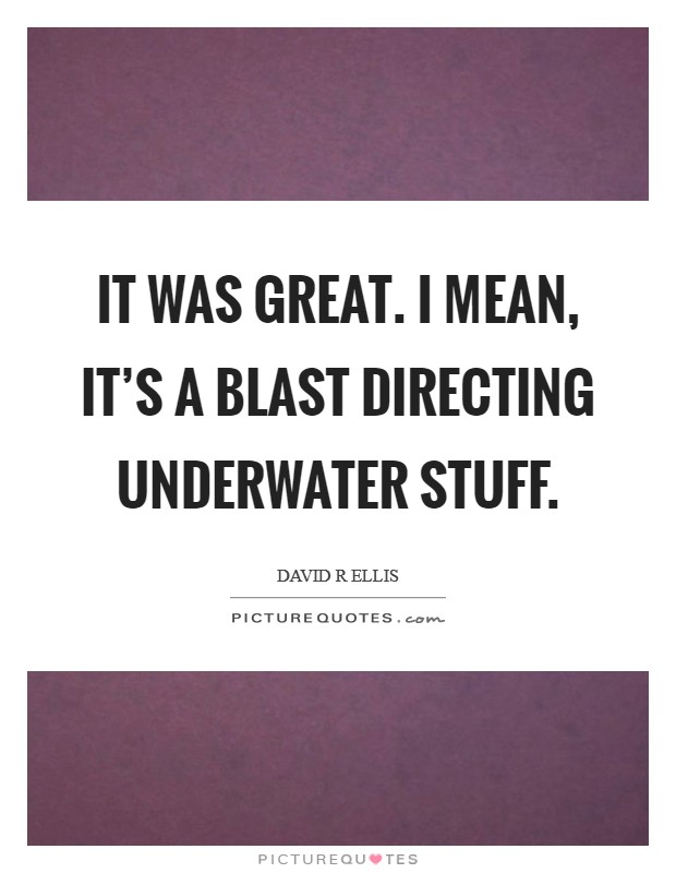 It was great. I mean, it's a blast directing underwater stuff Picture Quote #1