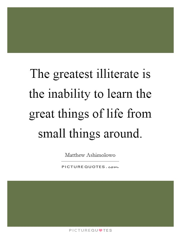 The greatest illiterate is the inability to learn the great things of life from small things around Picture Quote #1