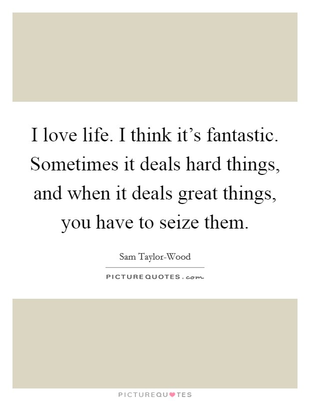 I love life. I think it's fantastic. Sometimes it deals hard things, and when it deals great things, you have to seize them Picture Quote #1