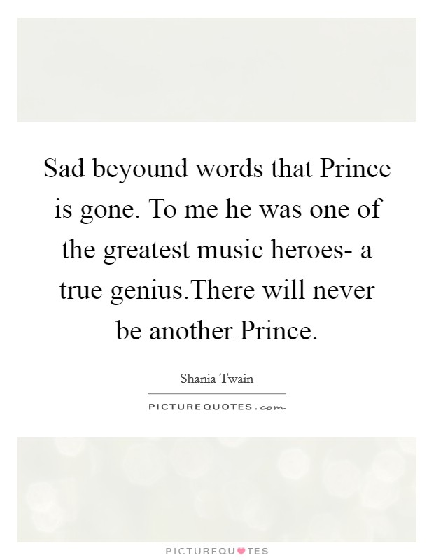 Sad beyound words that Prince is gone. To me he was one of the greatest music heroes- a true genius.There will never be another Prince Picture Quote #1