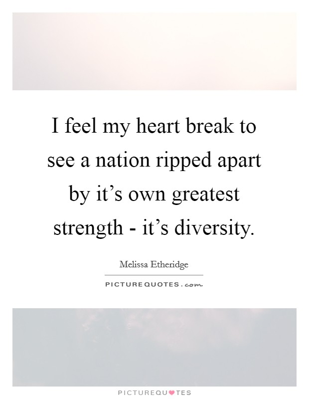 I feel my heart break to see a nation ripped apart by it's own greatest strength - it's diversity Picture Quote #1