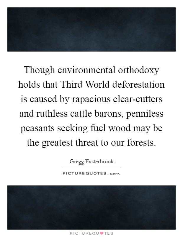 Though environmental orthodoxy holds that Third World deforestation is caused by rapacious clear-cutters and ruthless cattle barons, penniless peasants seeking fuel wood may be the greatest threat to our forests Picture Quote #1