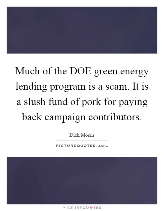 Much of the DOE green energy lending program is a scam. It is a slush fund of pork for paying back campaign contributors Picture Quote #1
