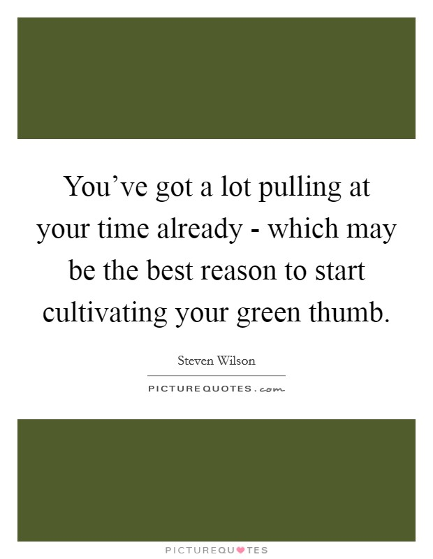 You've got a lot pulling at your time already - which may be the best reason to start cultivating your green thumb Picture Quote #1