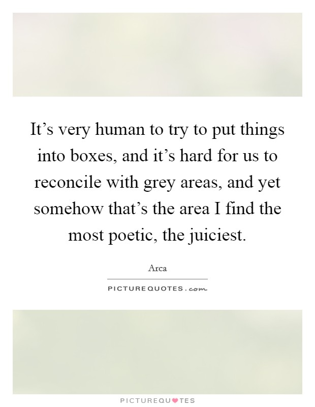 It's very human to try to put things into boxes, and it's hard for us to reconcile with grey areas, and yet somehow that's the area I find the most poetic, the juiciest. Picture Quote #1
