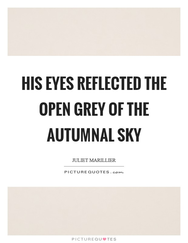 His eyes reflected the open grey of the autumnal sky Picture Quote #1