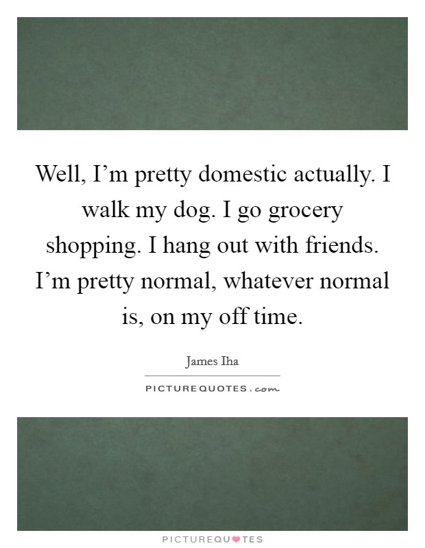Well, I'm pretty domestic actually. I walk my dog. I go grocery shopping. I hang out with friends. I'm pretty normal, whatever normal is, on my off time Picture Quote #1