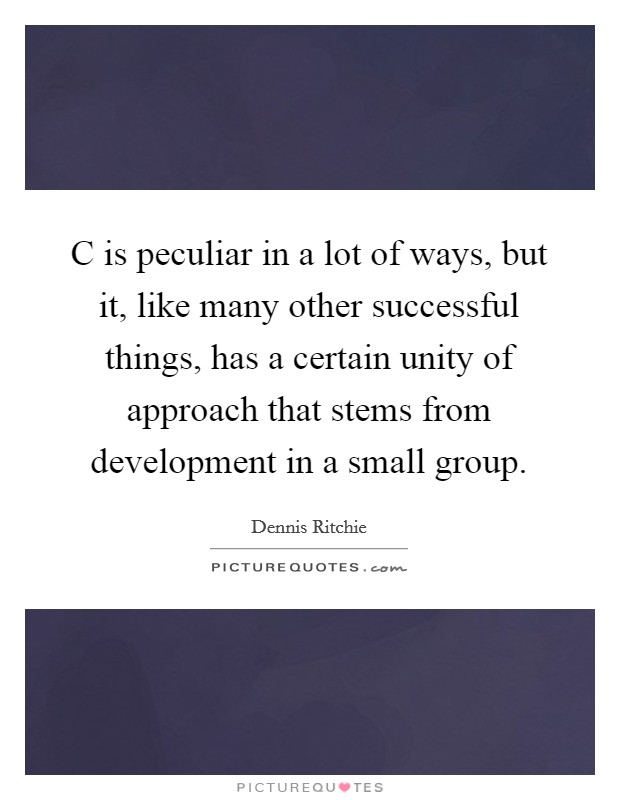 C is peculiar in a lot of ways, but it, like many other successful things, has a certain unity of approach that stems from development in a small group Picture Quote #1