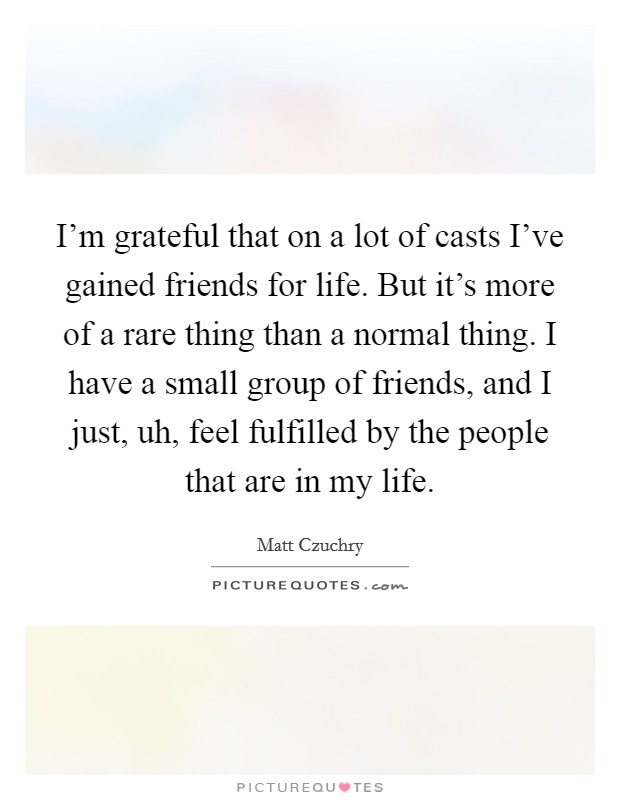 I'm grateful that on a lot of casts I've gained friends for life. But it's more of a rare thing than a normal thing. I have a small group of friends, and I just, uh, feel fulfilled by the people that are in my life. Picture Quote #1