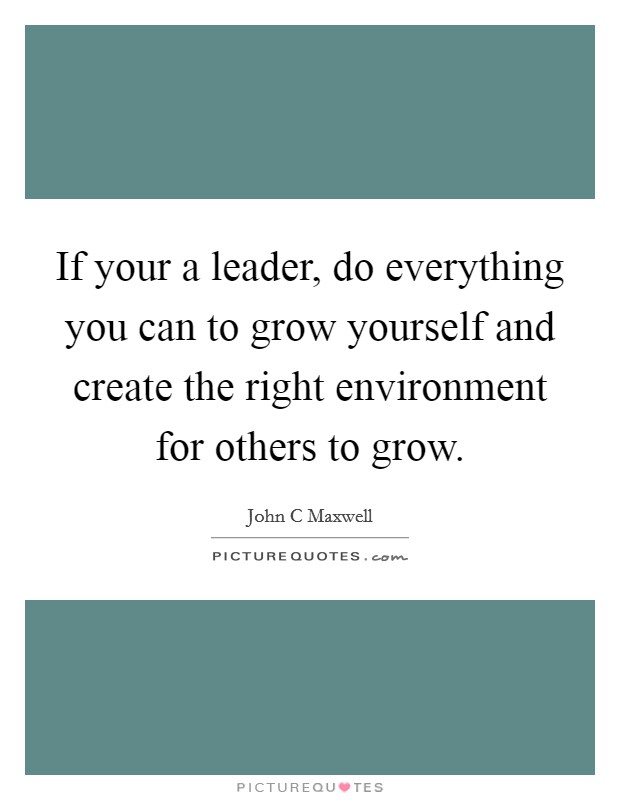 If your a leader, do everything you can to grow yourself and create the right environment for others to grow Picture Quote #1
