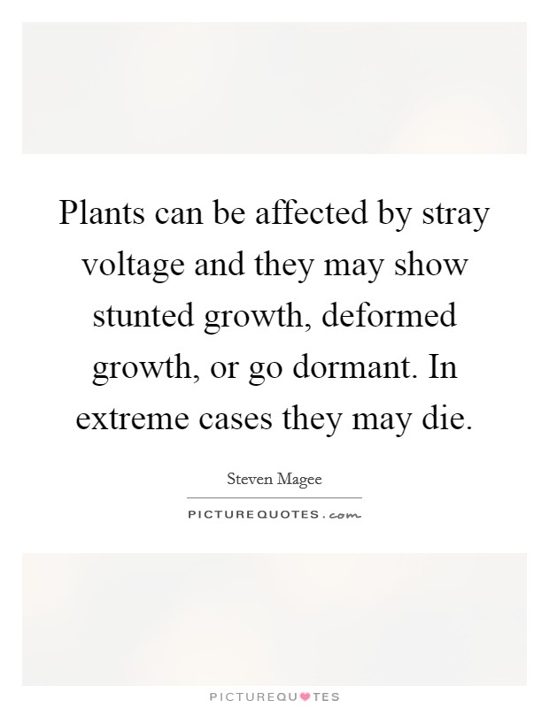 Plants can be affected by stray voltage and they may show stunted growth, deformed growth, or go dormant. In extreme cases they may die Picture Quote #1