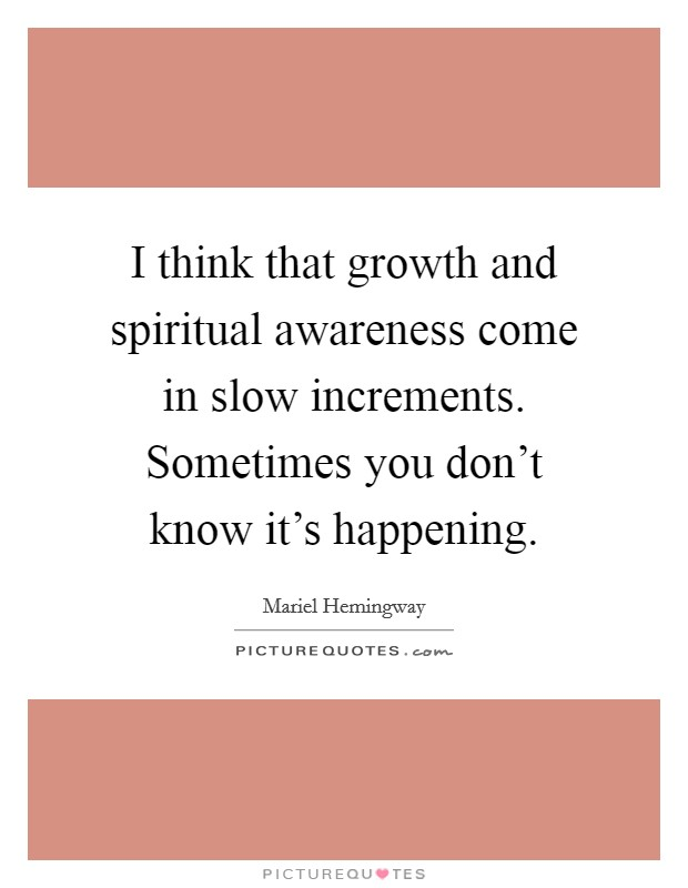 I think that growth and spiritual awareness come in slow increments. Sometimes you don't know it's happening Picture Quote #1