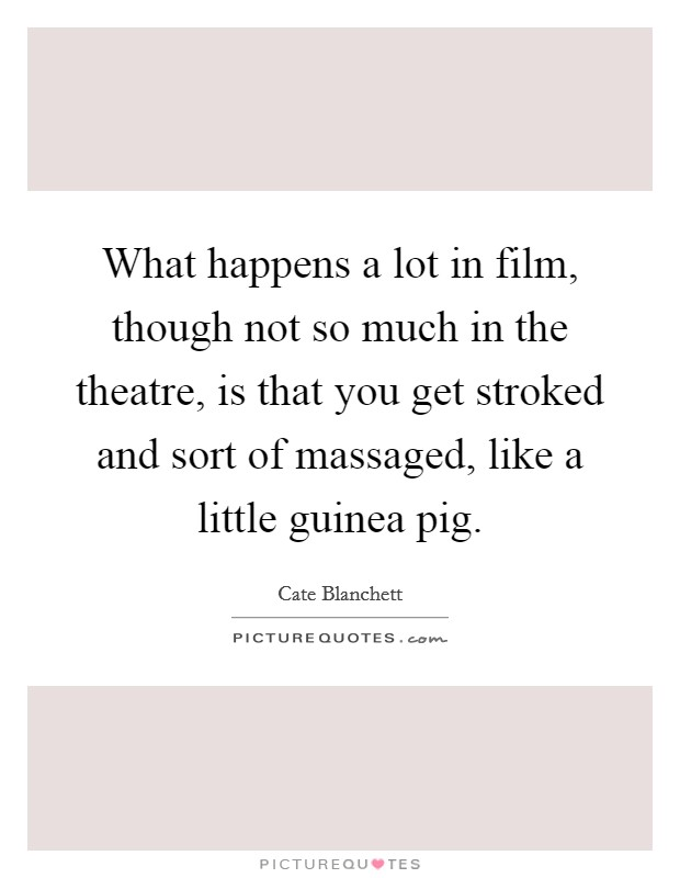 What happens a lot in film, though not so much in the theatre, is that you get stroked and sort of massaged, like a little guinea pig Picture Quote #1