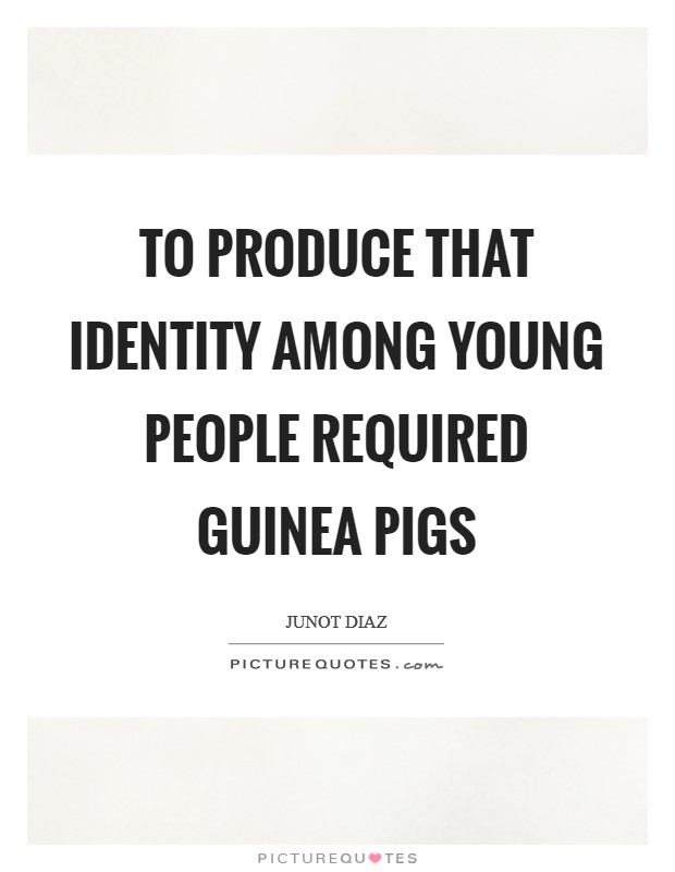 To produce that identity among young people required guinea pigs Picture Quote #1