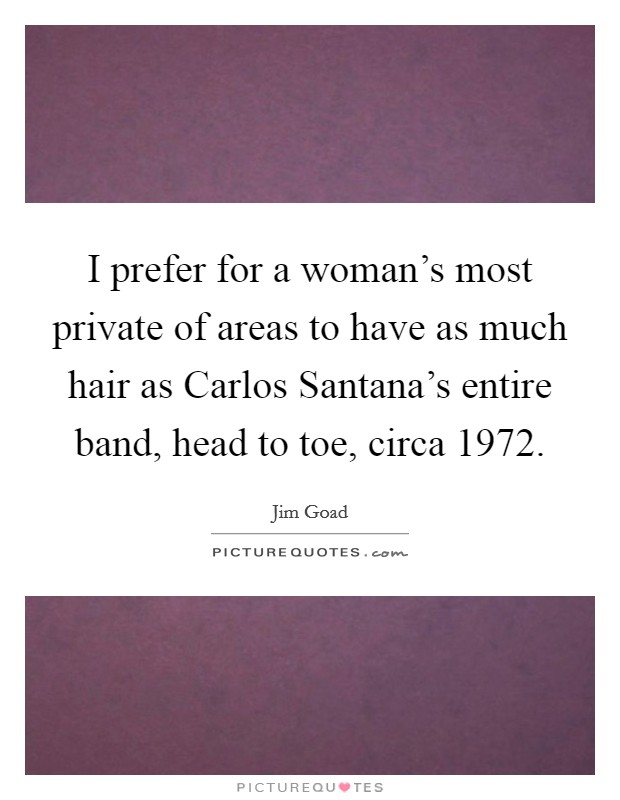 I prefer for a woman's most private of areas to have as much hair as Carlos Santana's entire band, head to toe, circa 1972 Picture Quote #1