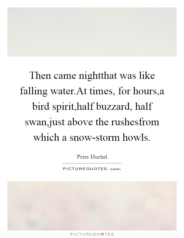 Then came nightthat was like falling water.At times, for hours,a bird spirit,half buzzard, half swan,just above the rushesfrom which a snow-storm howls. Picture Quote #1
