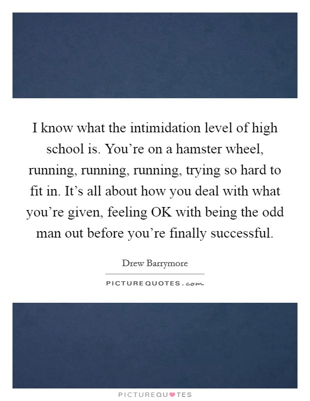 I know what the intimidation level of high school is. You're on a hamster wheel, running, running, running, trying so hard to fit in. It's all about how you deal with what you're given, feeling OK with being the odd man out before you're finally successful Picture Quote #1