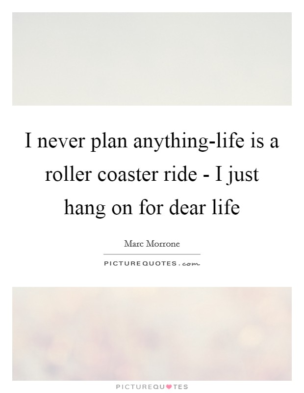 I never plan anything-life is a roller coaster ride - I just hang on for dear life Picture Quote #1