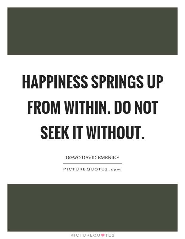 Happiness springs up from within. Do not seek it without Picture Quote #1