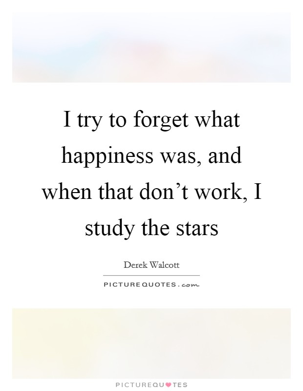 I try to forget what happiness was, and when that don't work, I study the stars Picture Quote #1