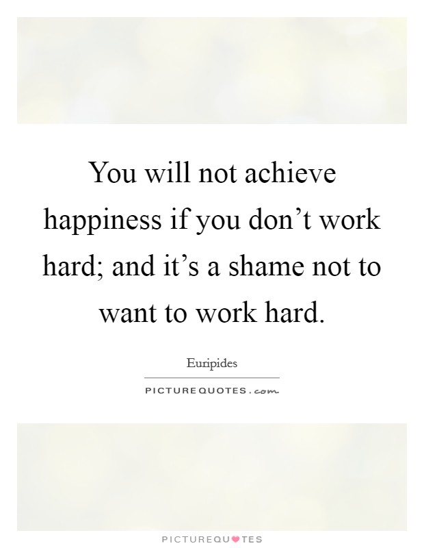 You will not achieve happiness if you don't work hard; and it's a shame not to want to work hard Picture Quote #1