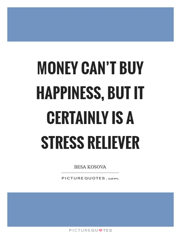 Money can't buy happiness, but it certainly is a stress reliever Picture Quote #1
